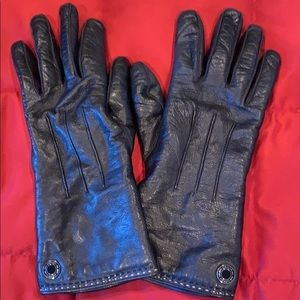Coach Black Leather Cashmere Gloves 7